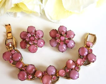 Vintage D and E Juliana Pink Art Glass and Rhinestone Bracelet and Earring Set DeLizza & Elster Jewelry Set
