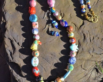 Fun Porcelain Bead Necklace and Earrings