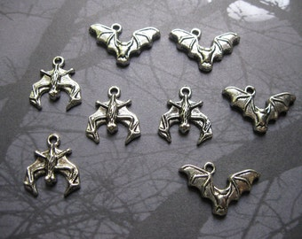 8 Halloween Bat Charms in Silver Tone - C584
