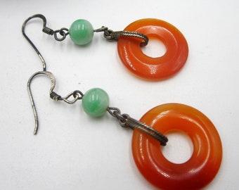 Antique vintage sterling silver & Chinese agate bi  jade beads earring