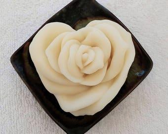White Rose Heart Natural Soap