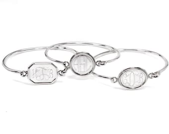 German Silver Monogrammed Bangle Bracelet