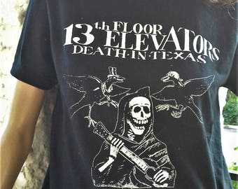 "13th FLOOR ELEVATORS ""Death in Texas"" psychedelic rock band tee shirt Roky Erickson Butthole Surfers Sonic Youth Spacemen 3 t-shirt lsd punk"