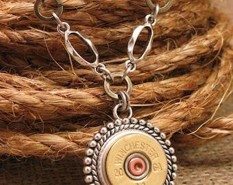 Bullet Jewelry - Shotgun Casing Jewelry - 20 Gauge Beaded Medallion w/ Mixed Metal Chain Necklace - Gun Jewelry - Shotgun Necklace