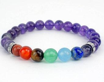 Amethyst Seven Chakra Bracelet