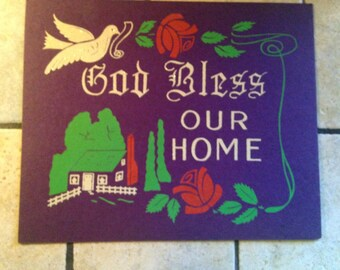 God Bless Our Home Antique Mini Poster