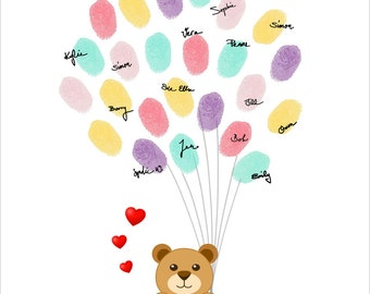 Teddy Bear Fingerprint Guest Book Personalized Thumbprint Guestbook for the Birthday, Baby Shower, Baby Girl - DIGITAL PRINTABLE FILE