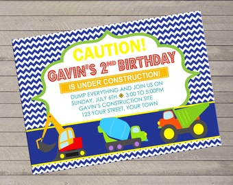 Boys Construction Theme Birthday Invite - Print Yourself