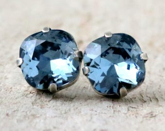 Denim Blue | Swarovski Crystal | Cushion Cut | Swarovski Earrings | Square Earrings | Wedding Jewelry | Gift For Her | Blue Wedding | Silver