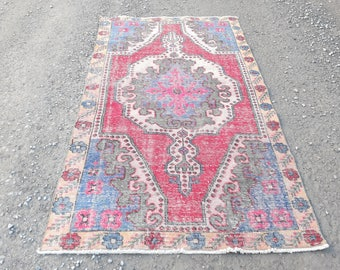 Turkish Rug Oushak Rug  90 x 50 inches  Muted Color Oushak Rug pink rug Distressed Rug Cappadocia Rug Anatolian Rug Handmade Rug