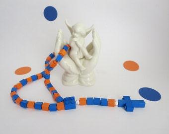 Kids Brick Rosary - Catholic Rosary made of Lego Bricks - Blue and  Orange Lego Bricks Rosary