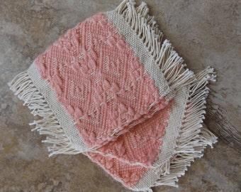 Handwoven Coasters/Mug Rugs, set of 4, Coral