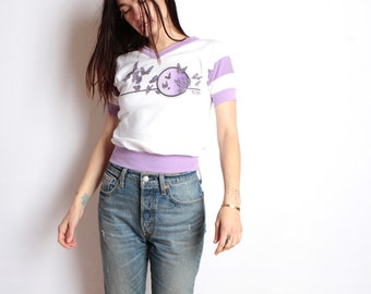 vintage RENO nevada BUTTERFLY 80s small crop top v-neck RINGER t-shirt top