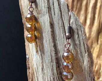 Golden Bead Earrings, Dangle Earrings, Sparkle Earrings, Earthtone Earrings, Women's Earrings, Gift for her, Beaded Earrings