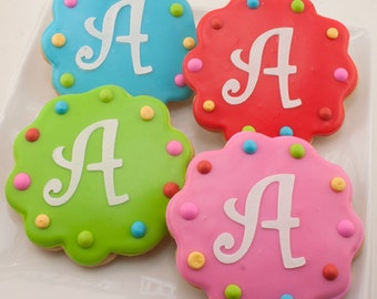 Monogrammed Birthday Cookies, or Numbered - 12 Decorated Sugar Cookie Favors
