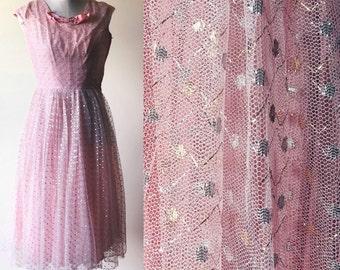 vintage prom dress // vintage pink gown //  metallic party dress // pink glitter dress