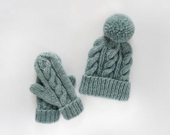 Knitting Pattern // Cabled Hat and Mittens Pattern // Cable Hat Pattern // Hat Knitting Pattern // Cabled Mitten Pattern