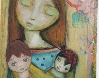 Mother with Her Little Ones - Aceo Giclee print mounted on Wood (2.5 x 3.5 inches) Folk Art  by FLOR LARIOS