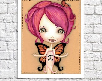 Butterfly Nursery Wall Art Woodland Fairy Room Cute Decor Whimsical Baby Girl Artwork Big Eyed Print Tween Bedroom Pictures For Girl Room