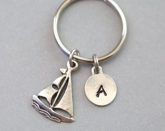 Sailboat Keychain, Personalized Gift for Sailor, Gift for Boater, Personalized Initial Keychain, Sailing Gift, Sailboat Gift