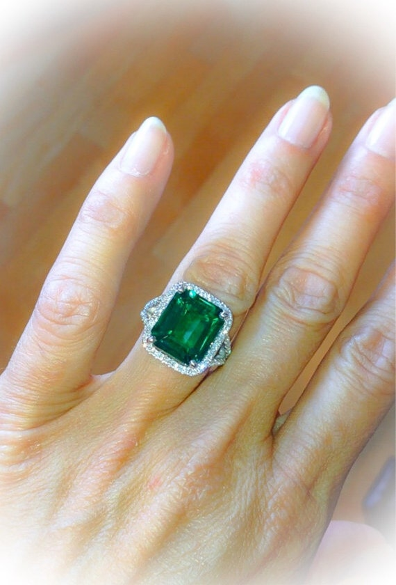 Emerald Engagement Ring Split Shank Ring 9ct Emerald Cut Halo