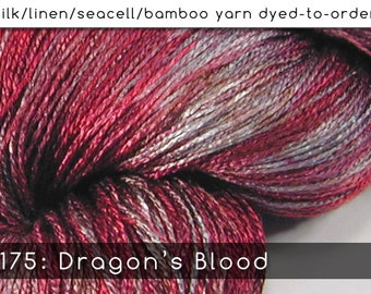 DtO 175: Dragon's Blood on Silk/Linen/Seacell/Bamboo Yarn Custom Dyed-to-Order