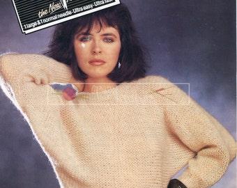 Lady's Dolman Sweater DK 32-40in Patons 7533 Vintage Knitting Pattern PDF instant download