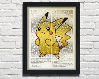 Pikatchu, Pokeom, printed on Vintage Paper  - dictionary art print, book prints