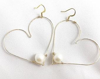 Large Heart Pearl Earrings