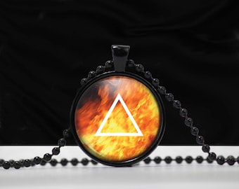 Fire Element Sign Pendant - Fire necklace - Element jewelry - A0002