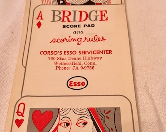 Bridge score pad, cards suits,scoreing rules.  By Esso