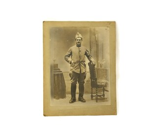 Antique Soldier Portrait Photo. French Military Photograph. Antique Military Souvenir.