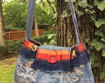 Upcycled Boho Denim Bag, Gypsy Denim Purse, Upcycled Denim Bag, Shabby Denim Bag, Denim Boho Bag