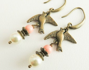 Vintage style bird earrings, peach dangle pearl earrings, peach with ivory jewelry, gift for her, romantic jewelry, brass and bronze