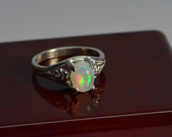 Sterling silver opal ring - size 7 ,sterling silver,october birthstone,gift,Welo Opal,opal, opal ring,birthstone ring,Mothers day gift