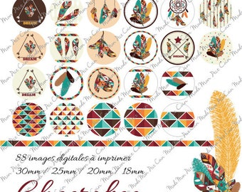 """Digital images for cabochons """"MARQUE"""" (88 images) to cut and stick on your creations"""