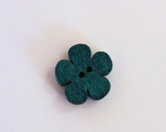Cute button scrapbooking blue flower wood
