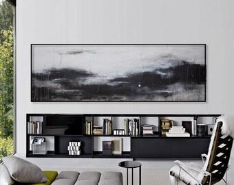 Large abstract painting original canvas Seascape painting Large wall art Minimalist art 72 Horizon line Horizontal long Blue gray painting