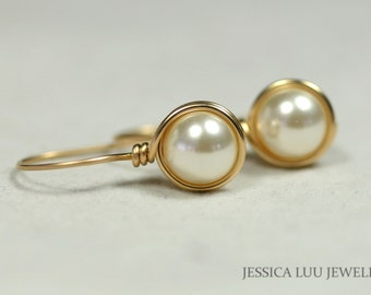 Gold Ivory Pearl Earrings Wire Wrapped Jewelry Handmade Bridal Pearl Earrings Gold Pearl Earrings Cream Swarovski Pearl Earring Gold Jewelry