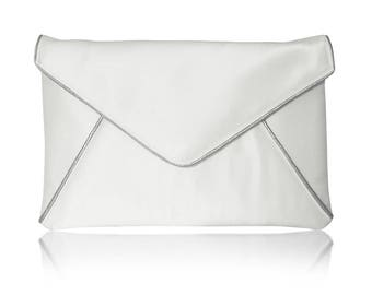 Ivory and silver bridal wedding satin envelope clutch handbag purse KATERINA