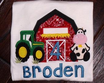 Personalized Tractor Barn Birthday Shirt, Girls Farm Birthday Shirt, Boy Farm Birthday Shirt, Embroidered Farm Birthday Shirt
