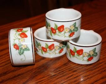 Vintage 4 Avon China Napkin Rings with Strawberries