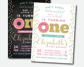 Donut Invitation First Birthday, Donut Birthday Invitation, Girl Birthday Invitation, Sprinkles Invite, Personalized Invitation, 2 options