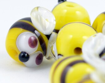 Lampwork glass Bumble Bee charm sized beads -made to order beads - from Izzybeads SRA UK