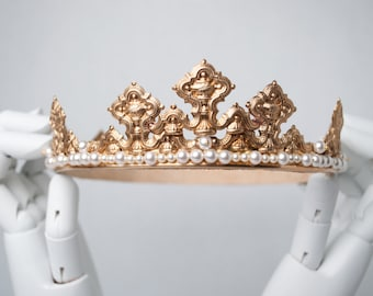 MADELEINE: Gold Coronet/Crown embellished with Swarovski Pearls