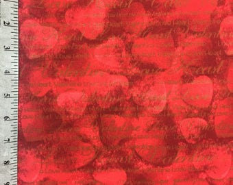 Red Heart Fabric by the yard / Valentine's Day / Love Sayings on Red Hearts / 100% Cotton Fabric by the yard