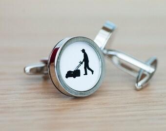 Lawn Mower on cufflinks - Lawn Mower cufflinks, Men's Cufflinks,  Husband, Wedding gift, Novelty cufflinks for him