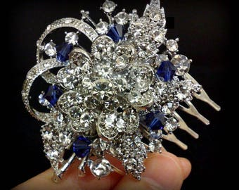 Something Blue Bridal Hair Comb, Sapphire Blue Bridal Hair Jewelry, Crystal Wedding Headpiece, Swarovski Hair Comb, Gift for Her, BOUQUET