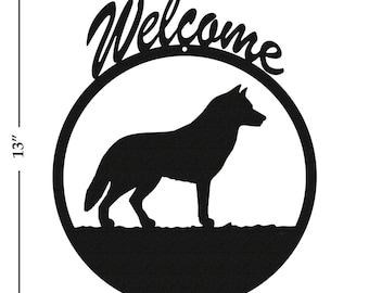 Dog Siberian Husky Black Metal Welcome Sign