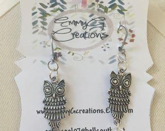 Owl earrings, Liverback earrings, Dangling earrings. Liverback and owl earrings.